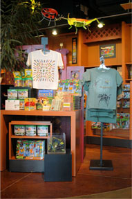 Displays at the Butterfly House gift shop
