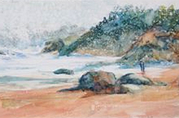 Watercolor painting featuring rocky coastline