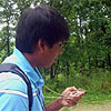Student using a compass