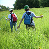 Students exploring the tallgrass prairie