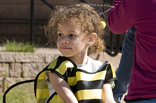 Girl wearing bee costume