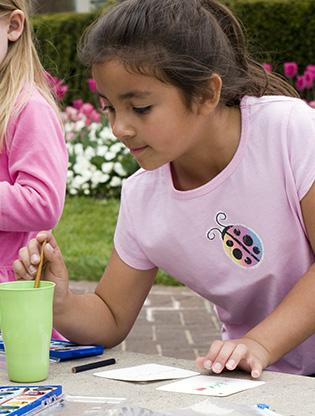 Girl watercoloring