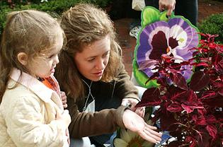Girl and mother in temperate house