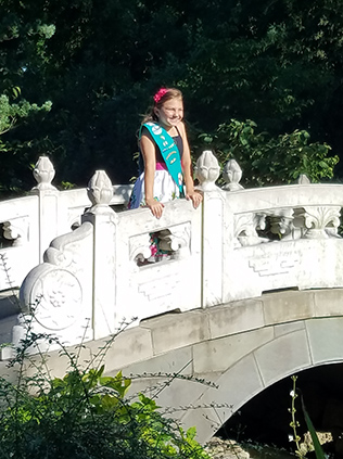 Scout on Chinese Garden bridge