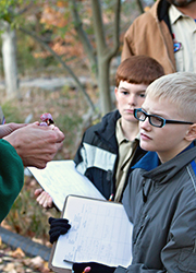 Cub scouts learning about native trees