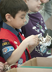 Cub scout making a bird feeder