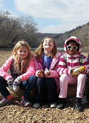 Girl scouts on gravel bar at Shaw Nature Reserve