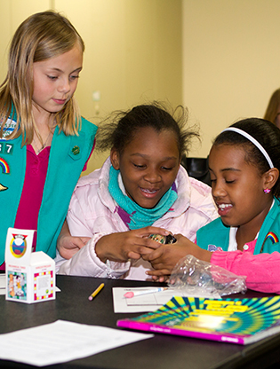 Girl scouts working together