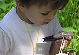 Little boy looking at soil through a magnifier