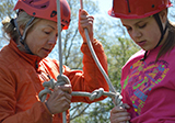 Preparing ropes to climb