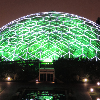 Climatron illuminated for Garden Glow