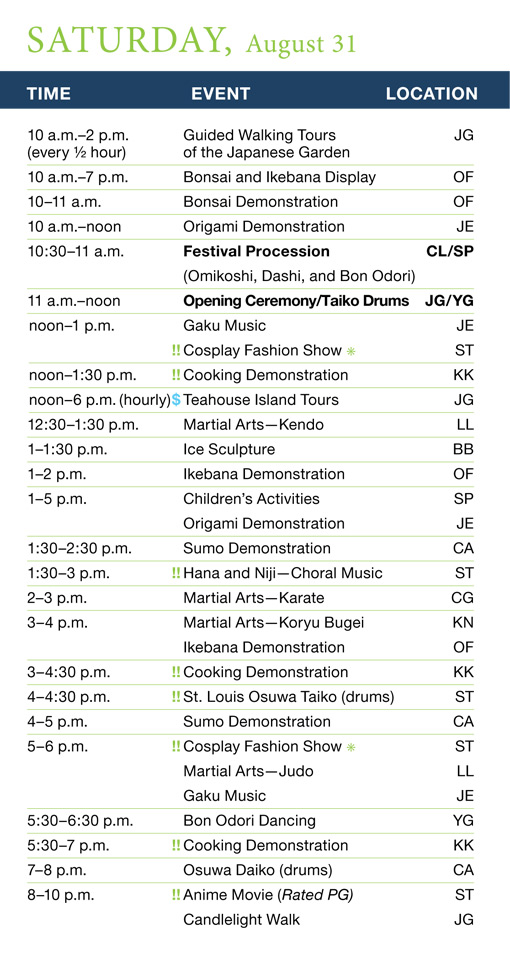 Japanese Festival Saturday Schedule