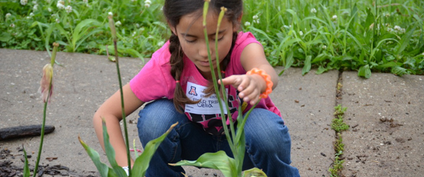 Young girl planting in community garden