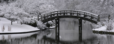 Drum bridge and lake in winter