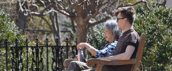 Man and woman relaxing in the Garden