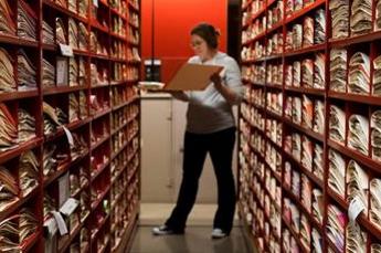 Researcher Lauren Peters in the herbarium