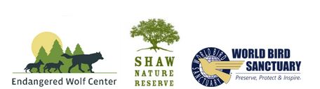 Endangered Wolf Center logo, Shaw Nature Reserve logo, World Bird Sanctuary logo