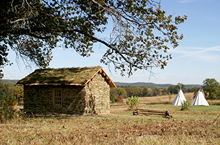 Sod house and tipis