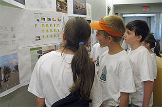 Campers investigate green building projects at the WUSTL studio.