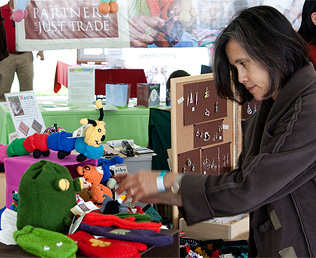 A shopper explores the many green items available at the festival