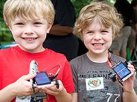 Boys show off their solar cars