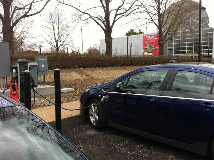 Electric vehicle charging stations at the Garden