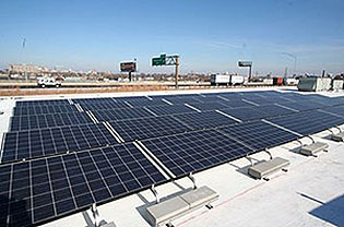 Solar photovoltaic array on roof of Commerce Bank Center for Science Education
