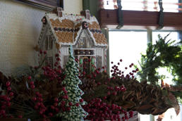 Holiday decorations inside Tower Grove House