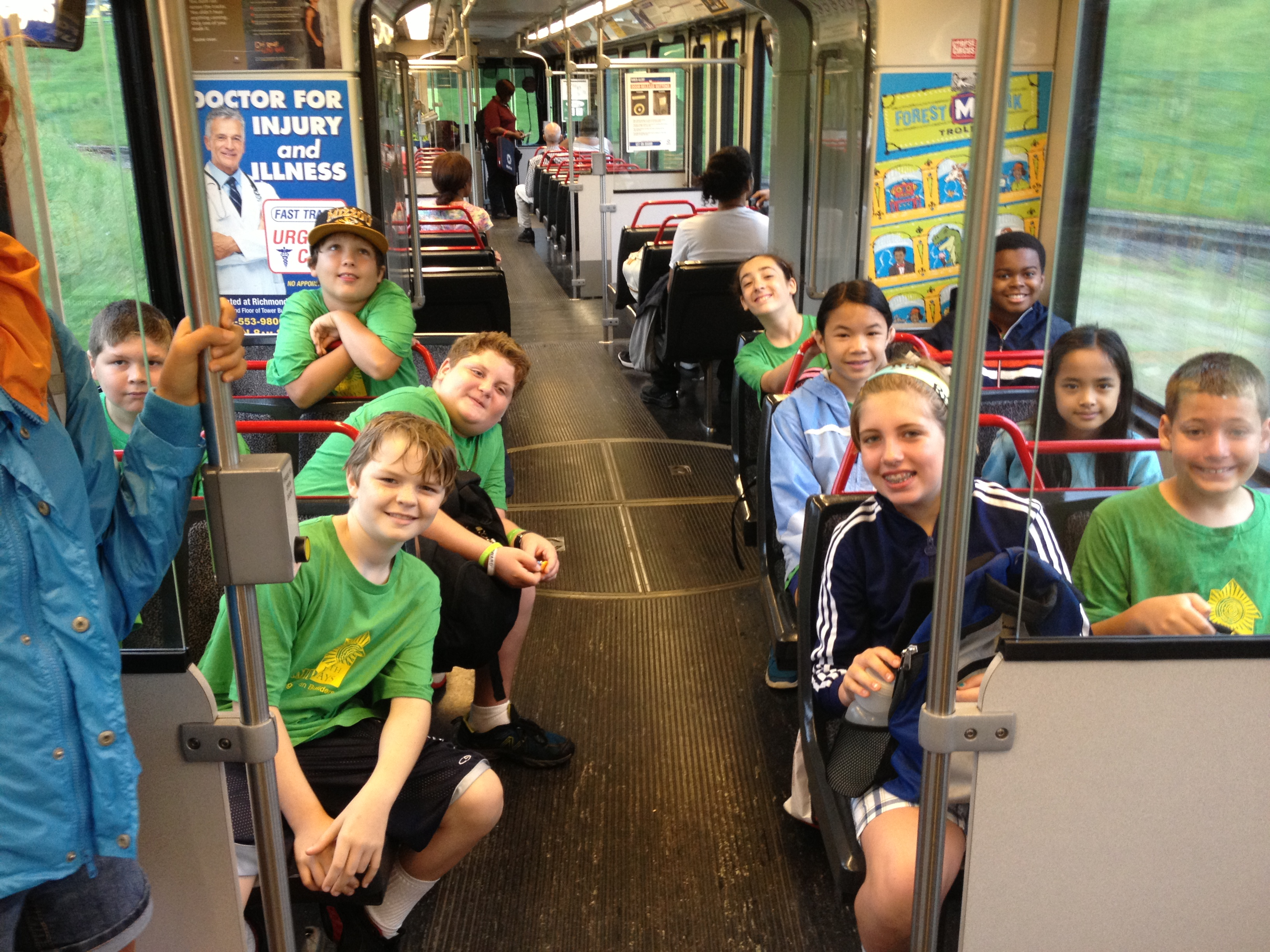 Campers enjoying public transportation
