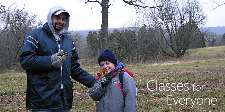 Father and son geocaching