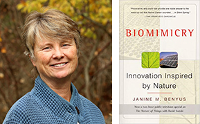 Biomimicry author Janine Benyus and book cover
