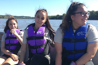 Young women on boat