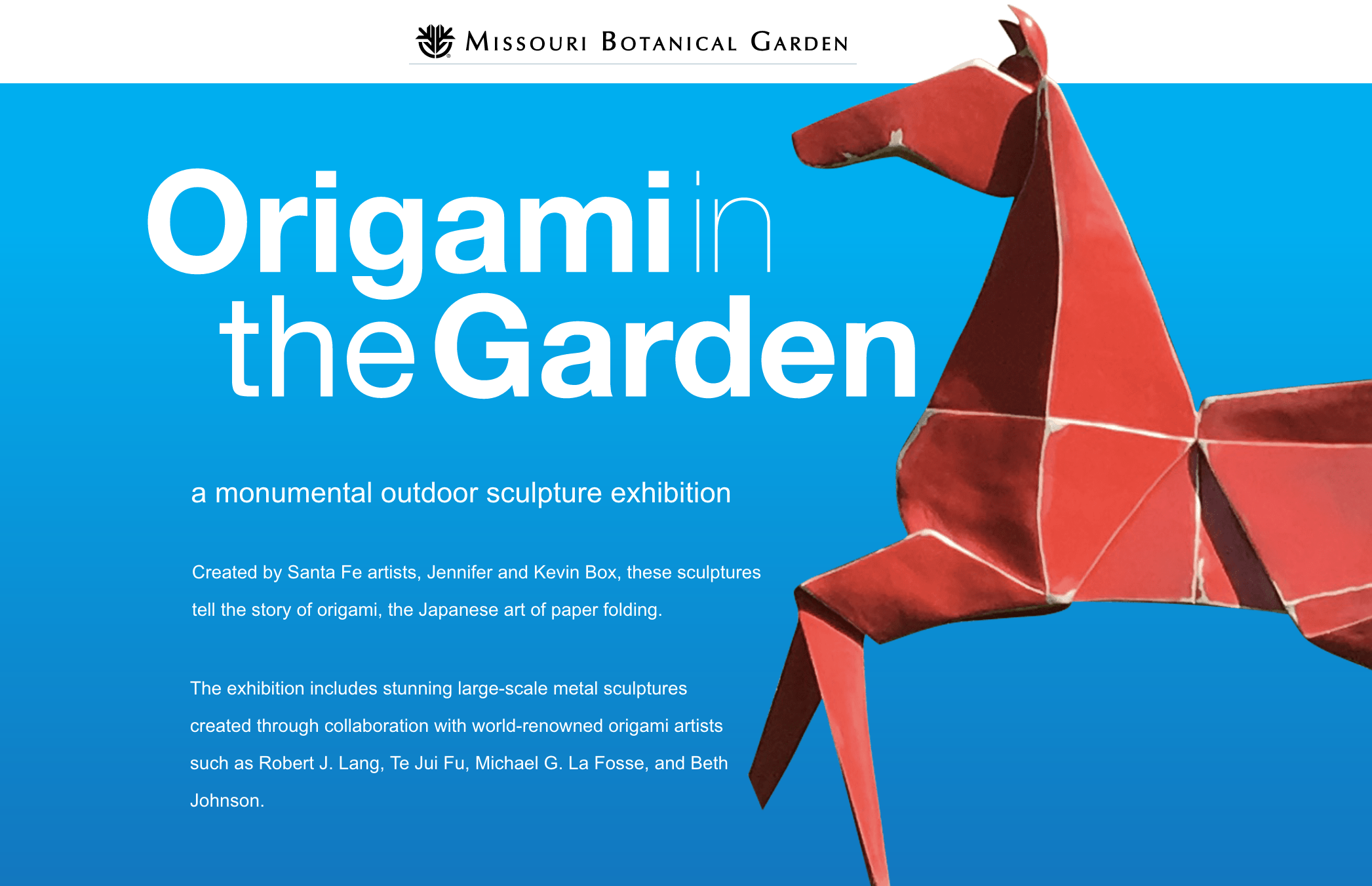 OrigamiintheGarden logo and painted pony sculpture over blue background