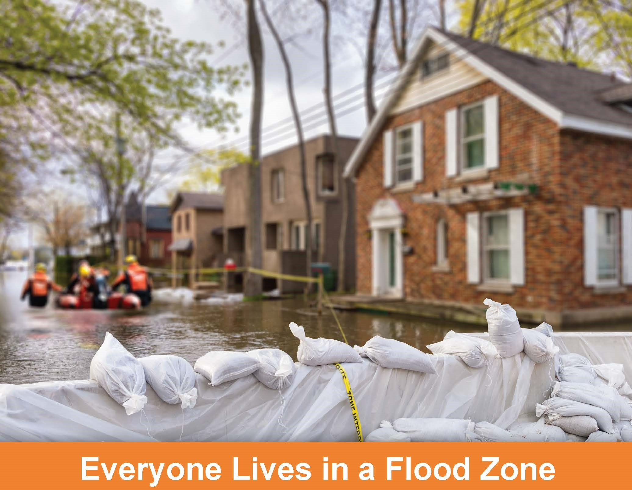 Flooded street with homes