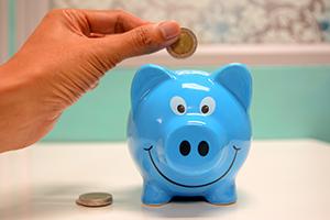 person adding a coin to a piggy bank