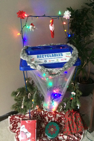 holiday party recycling bin