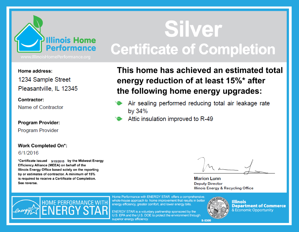 Illinois Home Performance Certificate of Completion